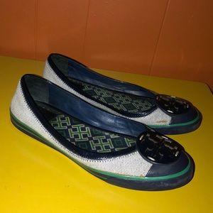 Tory Burch Shoes - Tory Burch Channing Navy Blue Canvas Sneaker Flats